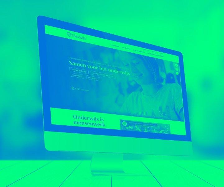 Een website en visuele identiteit voor Flexwijs. Flexwijs levert personeelsdiensten voor het onderwijs, maar wil het maatschappelijke karakter overbrengen in hun communicatie.